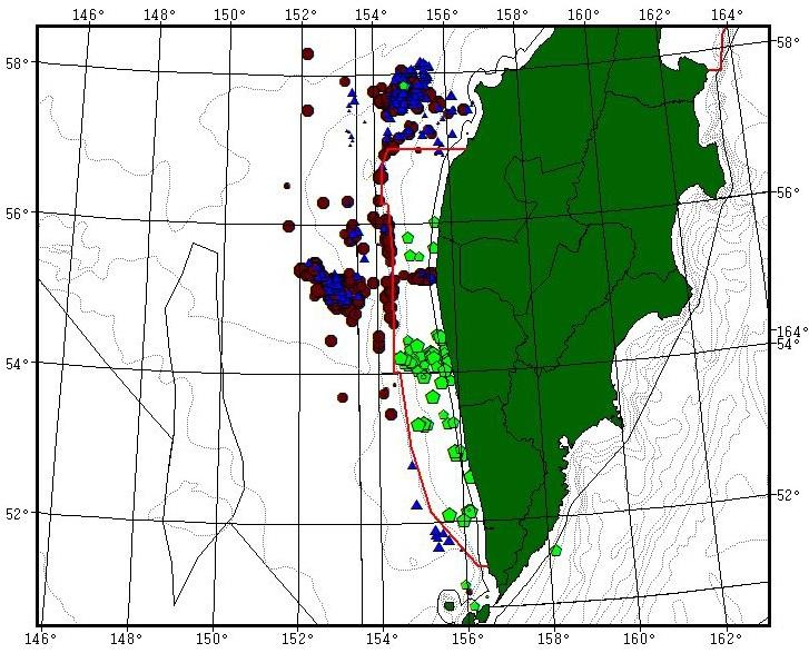 Обзор снюрреводного промысла минтая у Западной Камчатки, в тихоокеанских водах Камчатки и Северных Курильских островов
